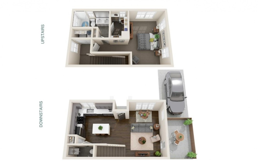 One Bedroom Cottage with Private Driveway Parking (A1U) - 1 bedroom floorplan layout with 1.5 bath and 851 square feet. (Interior)