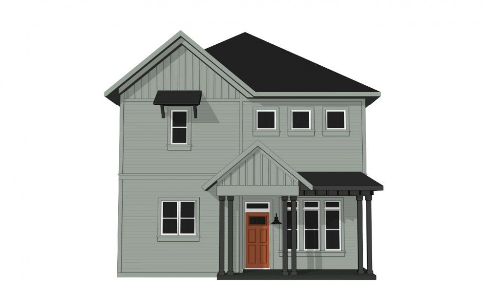 Two Bedroom Cottage (B1C) - 2 bedroom floorplan layout with 2.5 baths and 1207 square feet. (Exterior)
