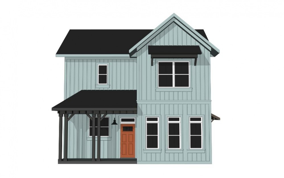 Two Bedroom Farmhouse (B2) - 2 bedroom floorplan layout with 2.5 baths and 1220 square feet. (Exterior)