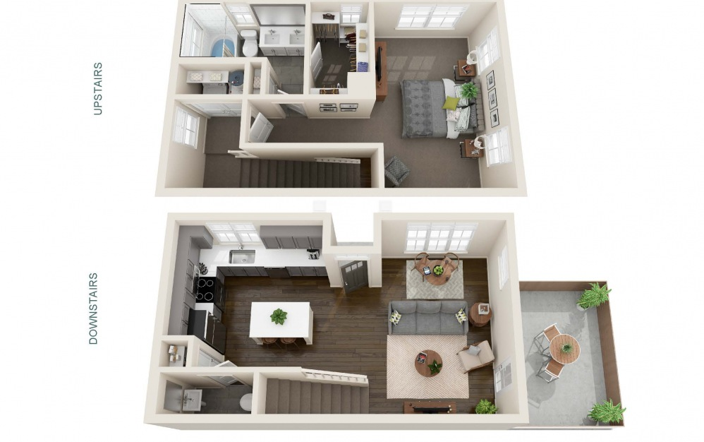 One Bedroom Cottage (A1C ) - 1 bedroom floorplan layout with 1.5 bath and 851 square feet. (Interior)