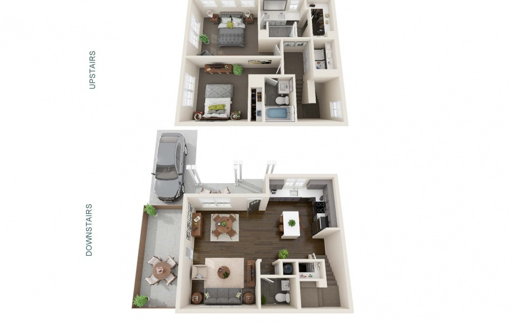 Two Bedroom Cottage with Private Driveway Parking (B1U) - 2 bedroom floorplan layout with 2.5 baths and 1207 square feet. (Interior)