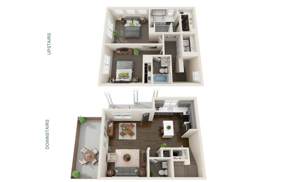 Two Bedroom Cottage (B1C) - 2 bedroom floorplan layout with 2.5 baths and 1207 square feet. (Interior)
