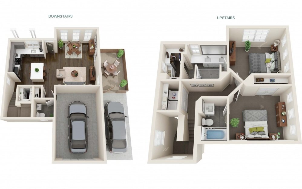 Two Bedroom Farmhouse (B2) - 2 bedroom floorplan layout with 2.5 baths and 1220 square feet. (Interior)
